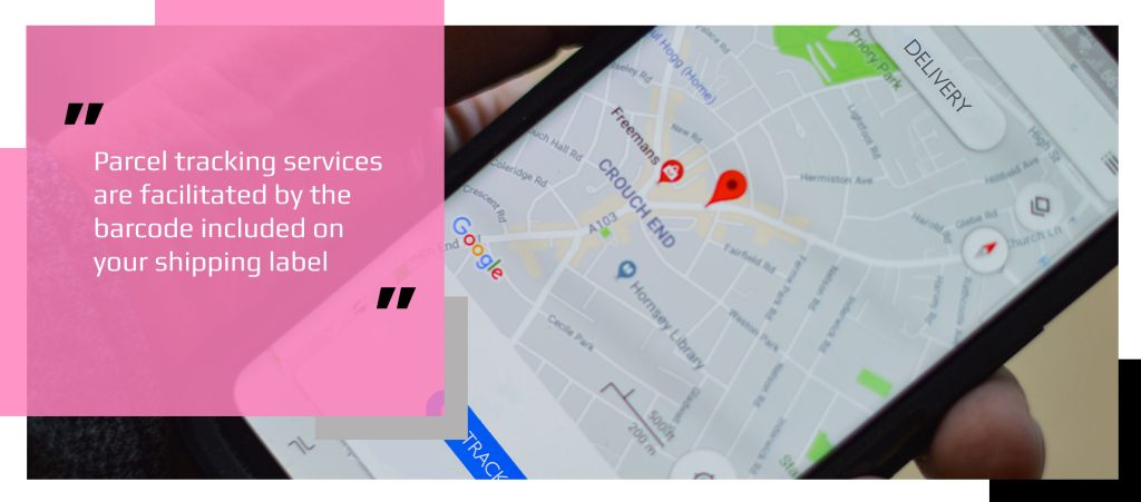 Phone with GPS parcel tracking information on map