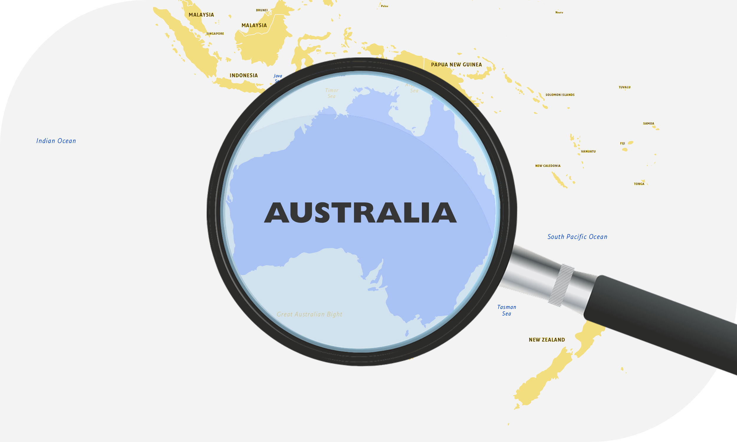 Map of shipping destinations in Australia
