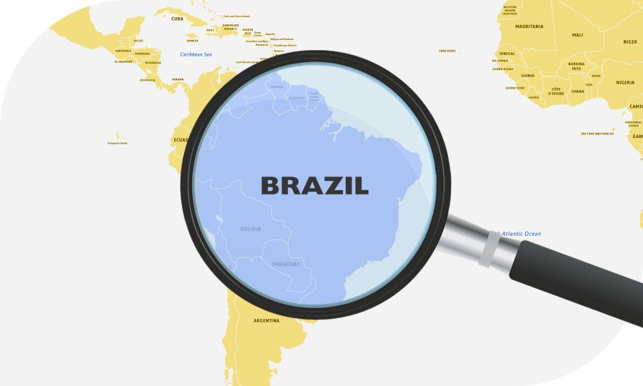 Map of South America magnifying Brazil
