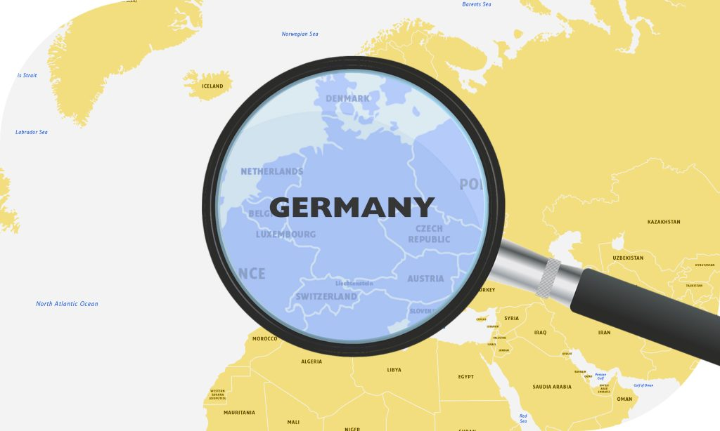 Europe shipping map zoomed in on Germany