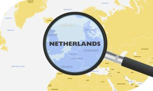 European shipping destinations map zoomed in on Netherlands