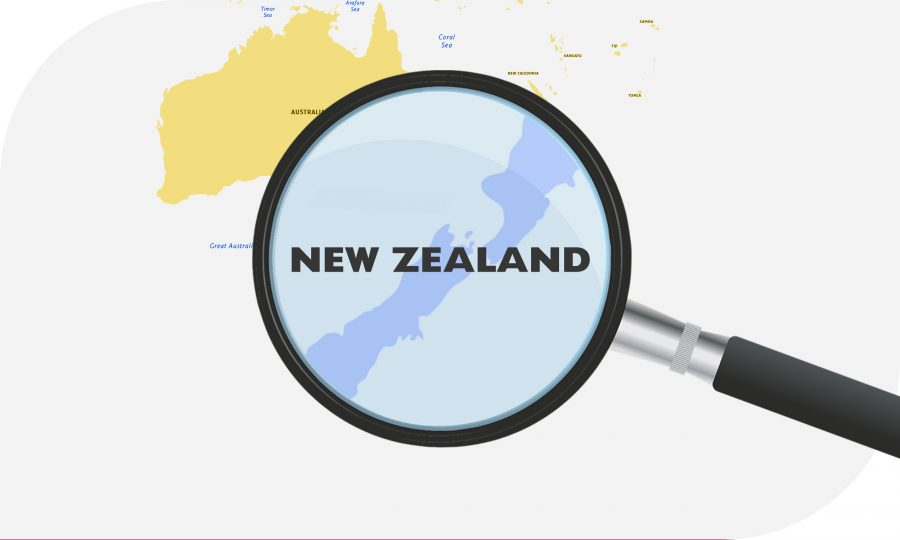Magnifying glass enlarging New Zealand on map