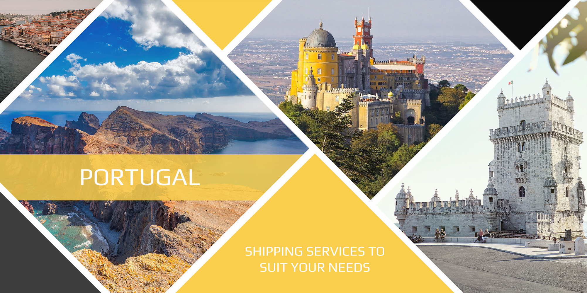 Portugal shipping and landmark collage