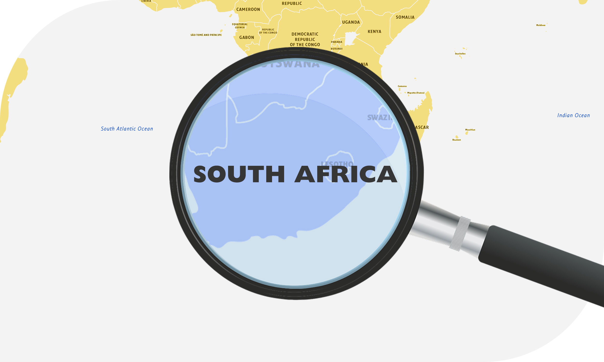 Map of Africa zoomed in on South Africa