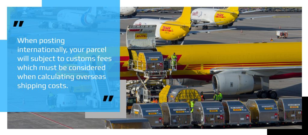 DHL cargo planes loading packages for international shipping