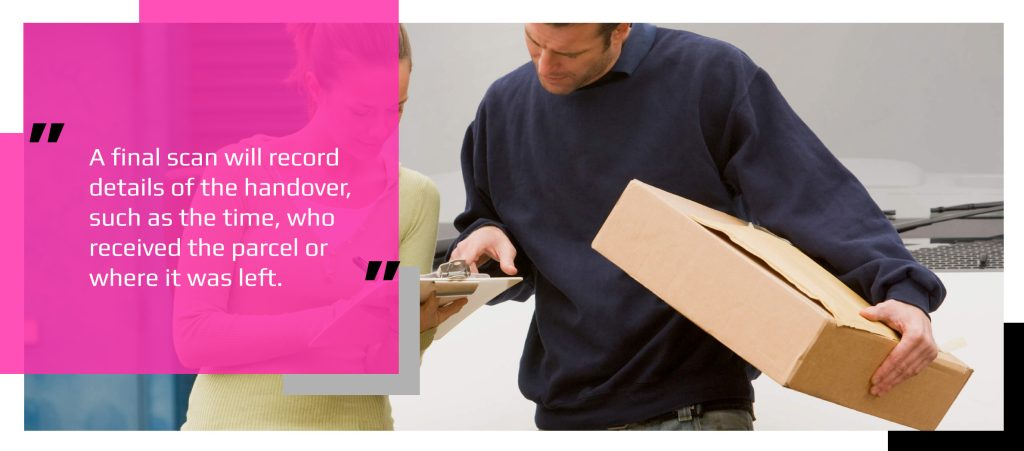 Recipient checking and signing for a tracked parcel delivery after driver's barcode scan