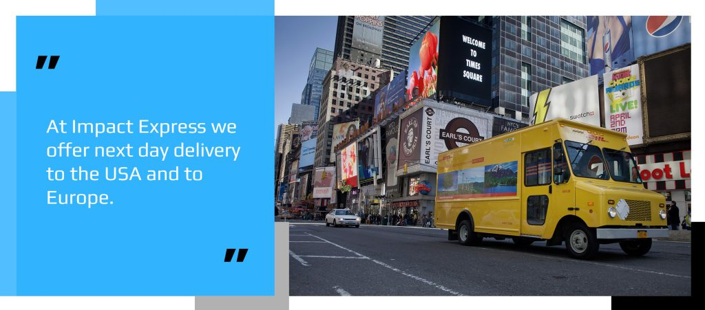 DHL van making an express shipping speed delivery in New York City
