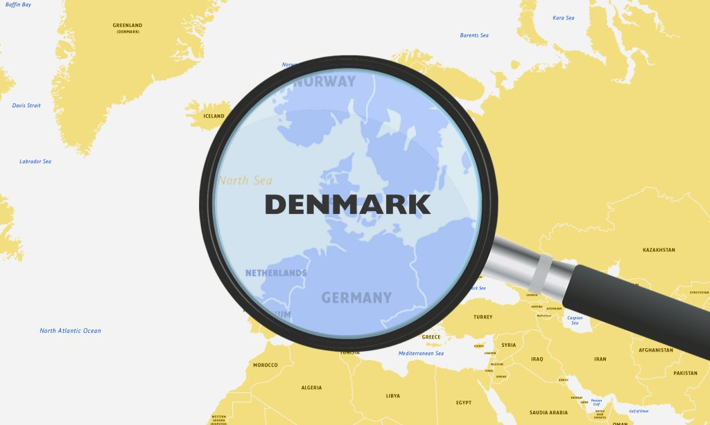 Map of Europe showing Denmark as a delivery destination
