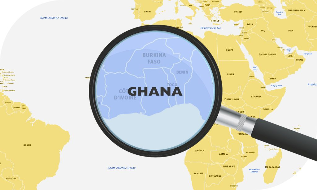 Map of Africa showing Ghana as a delivery destination