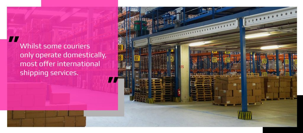 Warehouse containing pallets with parcels ready to ship