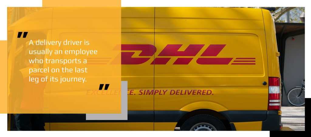 DHL van with driver stopping to make delivery