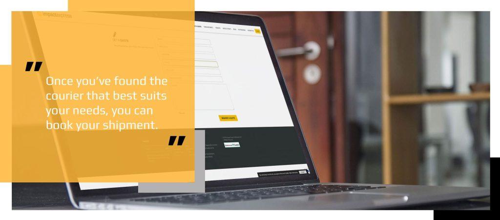 Impact Express booking form displayed on laptop