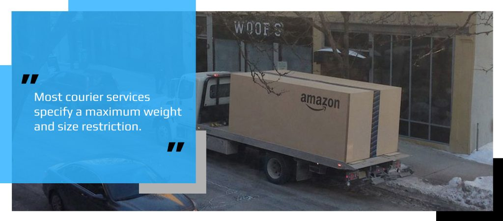 Oversized package being transported on a vehicle