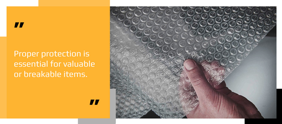 Roll of bubble wrap used as protective packaging for parcel