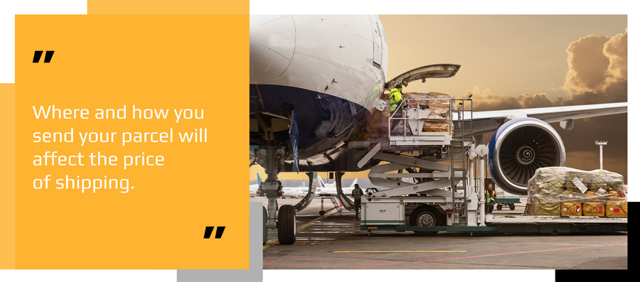 Aircraft being loaded with packages for international shipping destinations