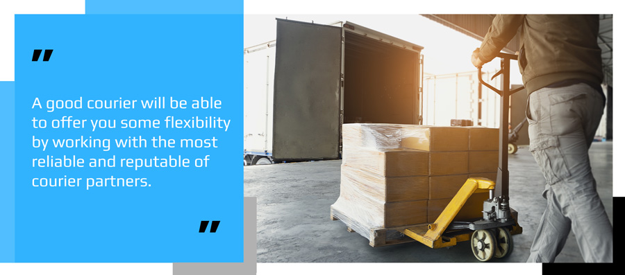 Courier preparing a pallet for international shipping