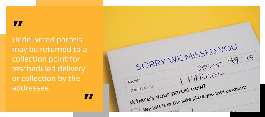 Undelivered parcel delivery card
